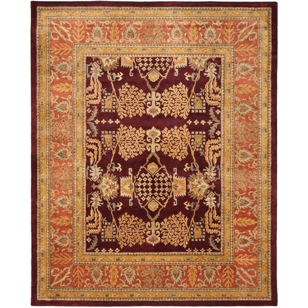 Safavieh Handmade Tree Dark Red/ Rust Hand-spun Wool Rug - 9' x 12'