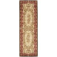 Safavieh Handmade Aubusson Maisse Light Gold/ Red Wool Rug (2'6 x 10')
