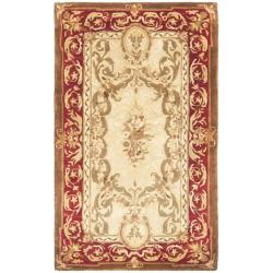 Safavieh Handmade Aubusson Maisse Light Gold/ Red Wool Rug (3' x 5')