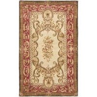 Safavieh Handmade Aubusson Maisse Light Gold/ Red Wool Rug (4' x 6')