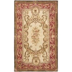 Safavieh Handmade Aubusson Maisse Light Gold/ Red Wool Rug (5' x 8')