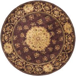 Safavieh Handmade Aubusson Roinville Red Wool Rug (4' x 4' Round)