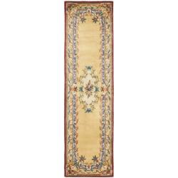Safavieh Handmade Aubusson Loubron Gold Wool Rug (2'6 x 10')