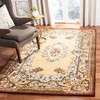 Safavieh Handmade French Aubusson Loubron Gold Premium Wool Rug - 4' x 6'