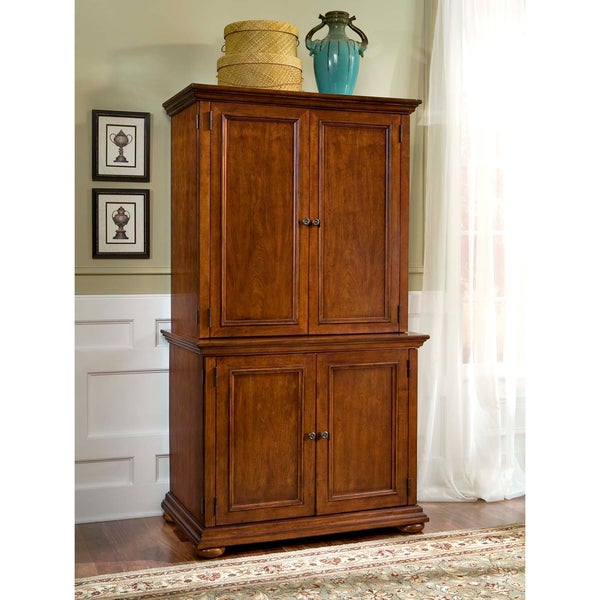 Distressed Warm Oak Desk and Hutch Combo by Home Styles