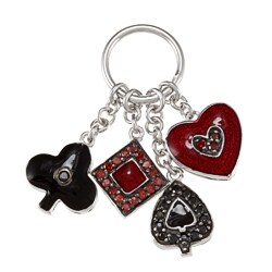 La Preciosa Sterling Silver CZ and Enamel Card Suit Charms
