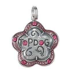 La Preciosa Sterling Silver Pink Enamel and CZ 'Top Dog' Flower Charm