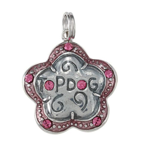 La Preciosa Sterling Silver Pink Enamel and CZ 'Top Dog' Flower Charm