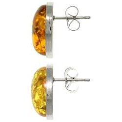 Carolina Glamour Collection Stainless Steel Oval Synthetic Amber Stud Earrings