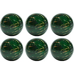 Red Vanilla 4-inch Green Painted Seeds Decorative Nature Spheres (Set of 6)