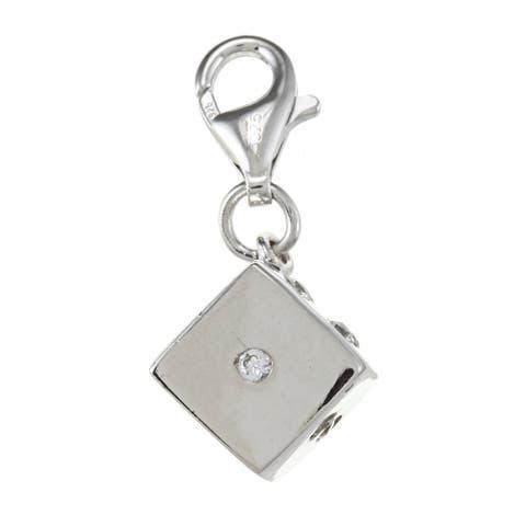 La Preciosa Sterling Silver Cubic Zirconia Dice Charm