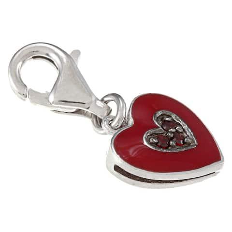 La Preciosa Sterling Silver Reversible Red CZ and Enamel Heart Charm