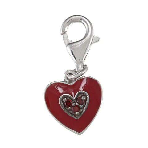 La Preciosa Sterling Silver Reversible Red CZ and Enamel Heart Charm