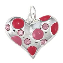La Preciosa Sterling Silver Pink Enamel and CZ Heart Charm