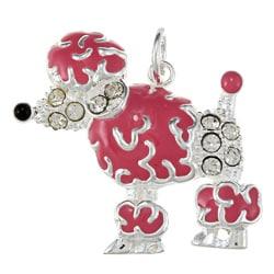 La Preciosa Sterling Silver Pink Enamel and Crystal Poodle Charm