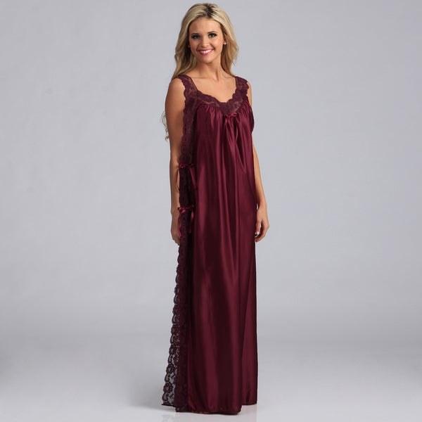 Women's Long Lace-trimmed Burgundy Toga Nightgown