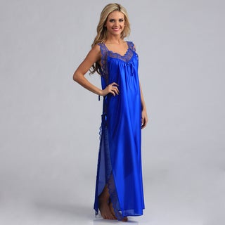Women's Royal Blue Lace-trimmed Long Nightgown