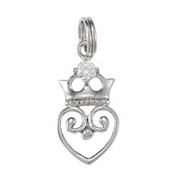 La Preciosa Sterling Silver Cubic Zirconia Crown Heart Charm