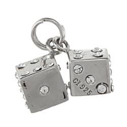 La Preciosa Sterling Silver Crystal Pair of Dice Charm|https://ak1.ostkcdn.com/images/products/6551415/La-Preciosa-Sterling-Silver-Crystal-Pair-of-Dice-Charm-P14131646.jpg?impolicy=medium