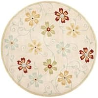 Safavieh Handmade Blossom Beige Wool Rug with Cotton Canvas Backing - 6' x 6' Round