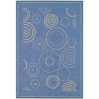 Safavieh Ocean Swirls Blue/ Natural Indoor/ Outdoor Rug (9' x 12')