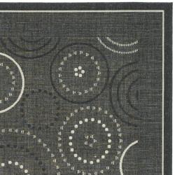 Safavieh Ocean Swirls Black/ Sand Indoor/ Outdoor Rug (9' x 12') - Thumbnail 1