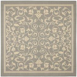 Safavieh Resorts Scrollwork Grey/ Natural Indoor/ Outdoor Rug (6'7 Square)