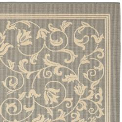 Safavieh Resorts Scrollwork Grey/ Natural Indoor/ Outdoor Rug (7'10 Square) - Thumbnail 1