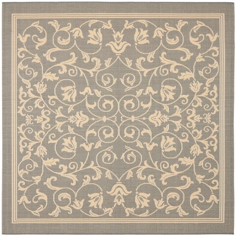 "Safavieh Resorts Scrollwork Grey/ Natural Indoor/ Outdoor Rug - 7'10"" x 7'10"" Square"