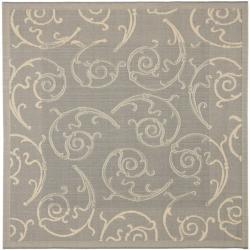 Safavieh Oasis Scrollwork Grey/ Natural Indoor/ Outdoor Rug (6'7 Square)