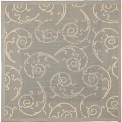 Safavieh Oasis Scrollwork Grey/ Natural Indoor/ Outdoor Rug (7'10 Square)