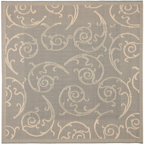 """Safavieh Oasis Scrollwork Grey/ Natural Indoor/ Outdoor Rug - 7'10"""" x 7'10"""" Square"""