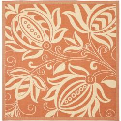 """Safavieh Andros Terracotta/ Natural Indoor/ Outdoor Rug - 7'10"""" x 7'10"""" square"""
