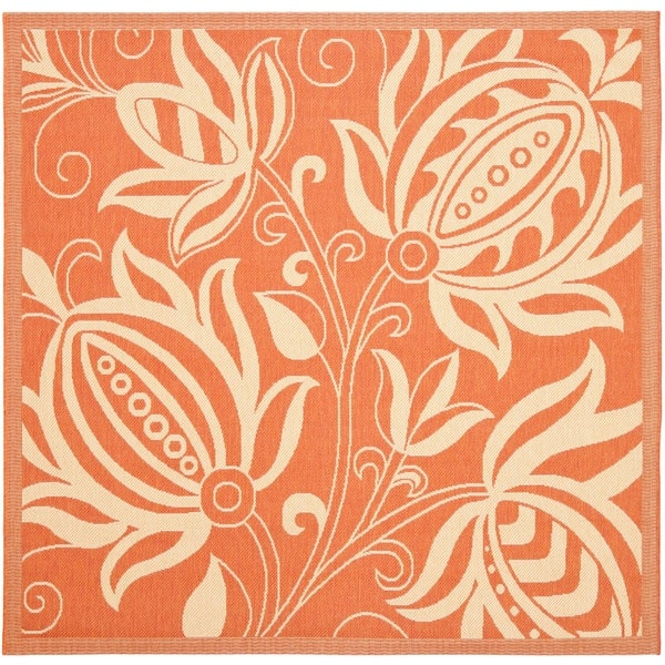 "Safavieh Andros Terracotta/ Natural Indoor/ Outdoor Rug - 7'10"" x 7'10"" Square"