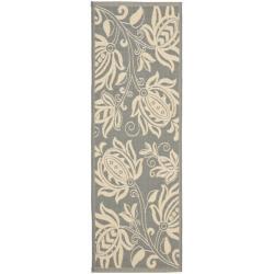 Safavieh Andros Grey/ Natural Indoor/ Outdoor Rug (2'4 x 9'11)
