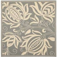 """Safavieh Andros Grey/ Natural Indoor/ Outdoor Rug - 6'7"""" x 6'7"""" square"""