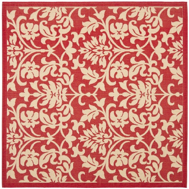 Safavieh Seaview Red Natural Indoor Outdoor Rug 6 X27 7 Square