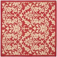 "Safavieh Seaview Red/ Natural Indoor/ Outdoor Rug - 7'10"" x 7'10"" square"
