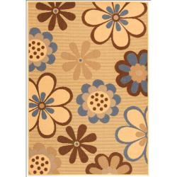 Safavieh Courtyard Flowers Natural/ Blue Indoor/ Outdoor Rug (2'7 x 5')