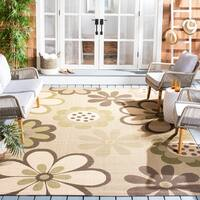 "Safavieh Courtyard Flowers Natural/ Blue Indoor/ Outdoor Rug - 2'-7"" x 5'/2'7 x 5'"