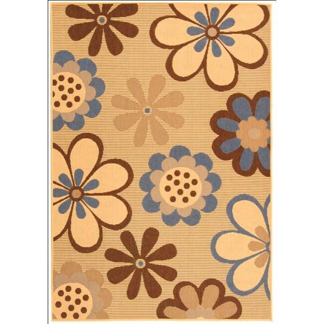 "Safavieh Courtyard Flowers Natural/ Blue Indoor/ Outdoor Rug (5'3"" x 7'7"")"