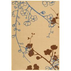 Safavieh Courtyard Floral Branches Natural/ Blue Indoor/ Outdoor Rug (5'3 x 7'7)