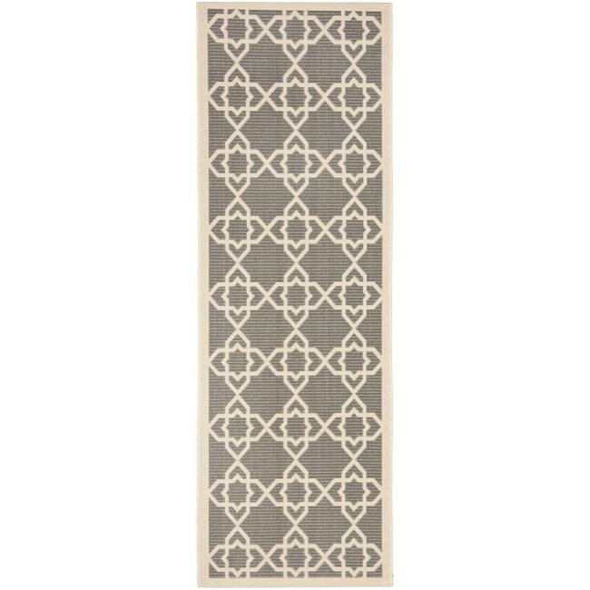 Safavieh Courtyard Geometric Trellis Grey/ Beige Indoor/ Outdoor Rug (2'4 x 9'11)