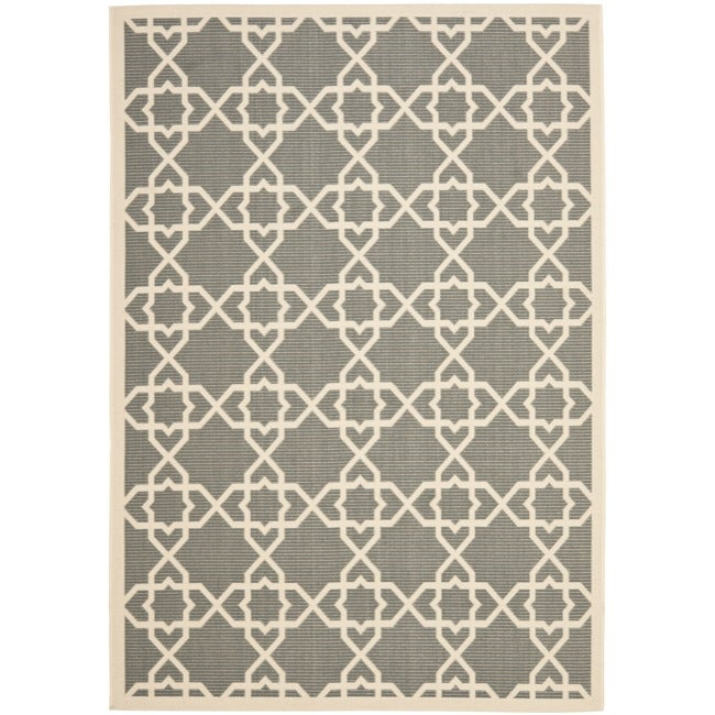 Safavieh Poolside Grey/ Beige Indoor Outdoor Rug (4' x 5'7)
