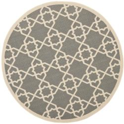 Safavieh Courtyard Geometric Trellis Grey/ Beige Indoor/ Outdoor Rug (5'3 Round)