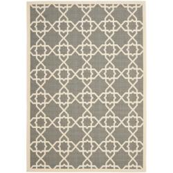 Safavieh Courtyard Geometric Trellis Grey/ Beige Indoor/ Outdoor Rug (6'7 x 9'6)