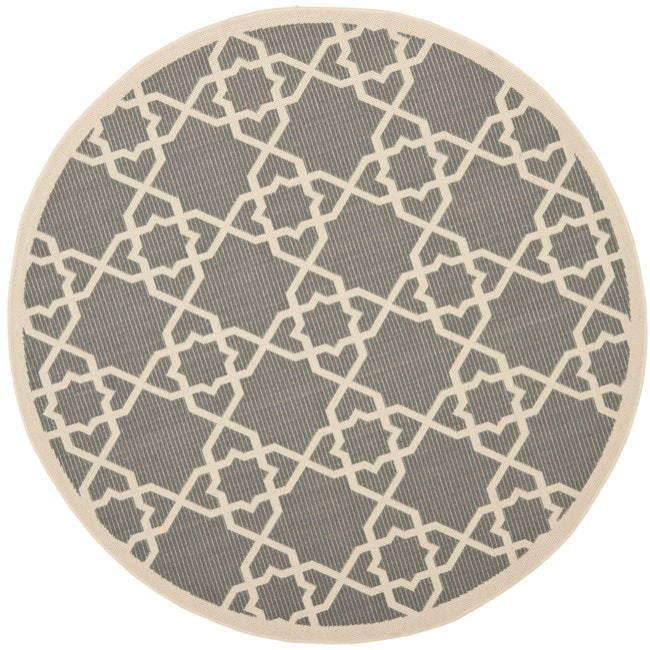 Safavieh Courtyard Geometric Trellis Grey/ Beige Indoor/ Outdoor Rug (6'7 Round)