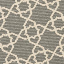 Safavieh Courtyard Geometric Trellis Grey/ Beige Indoor/ Outdoor Rug (6'7 Round) - Thumbnail 2