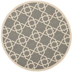 Safavieh Courtyard Geometric Trellis Grey/ Beige Indoor/ Outdoor Rug (6'7 Round)