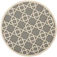 "Safavieh Courtyard Geometric Trellis Grey/ Beige Indoor/ Outdoor Rug - 6'7"" x 6'7"" round"